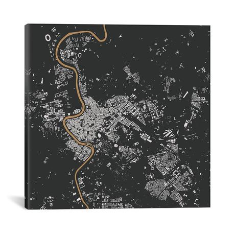 """Rome Urban Map // Black + Gold (18""""L x 18''W)"""