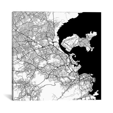 "Rio de Janeiro Urban Map // White (18""L x 18''W)"