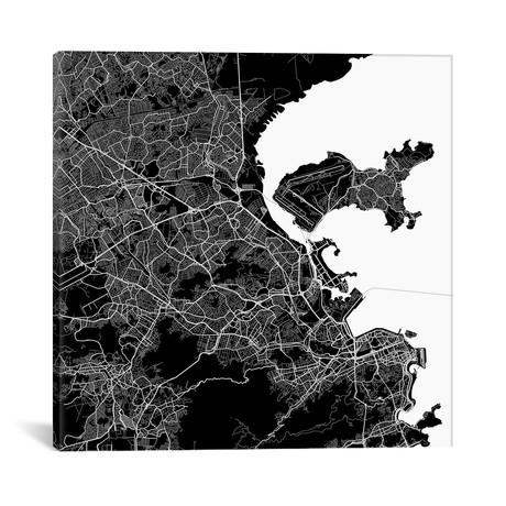"""Rio de Janeiro Urban Map // Black (18""""L x 18''W)"""