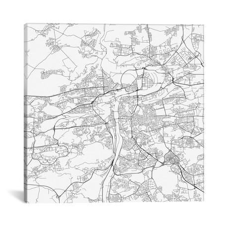 """Prague Urban Roadway Map // White (18""""L x 18''W)"""