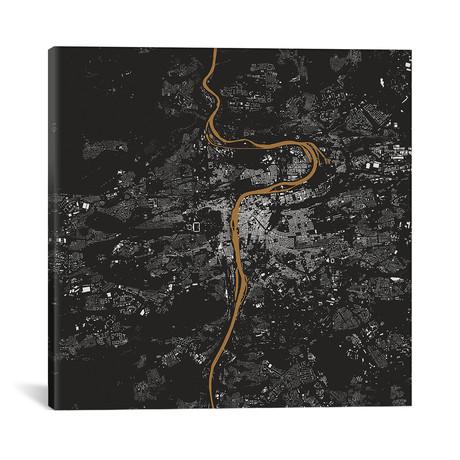 "Prague Urban Map // Gold (18""L x 18''W)"