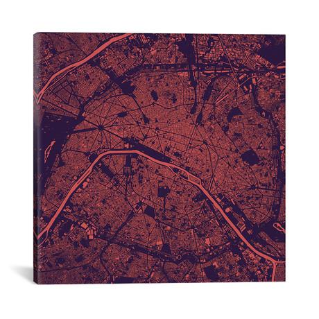 """Paris Urban Map // Purple Night (18""""L x 18''W)"""