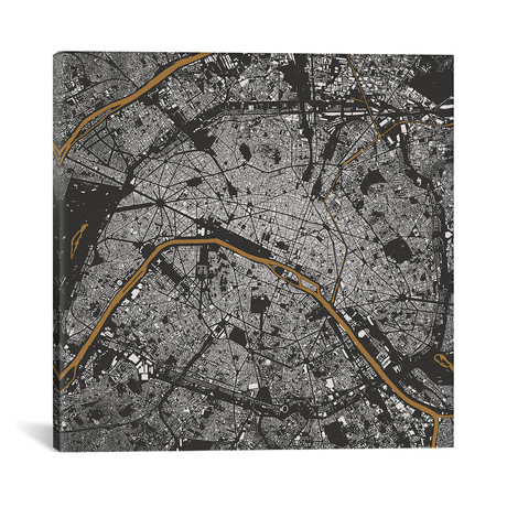 """Paris Urban Map // Gold (18""""L x 18''W)"""