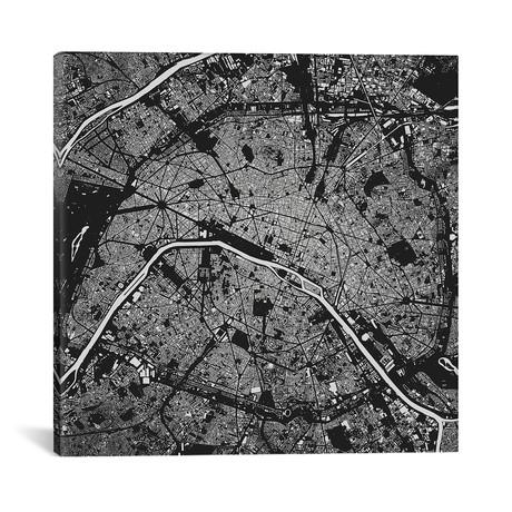 """Paris Urban Map // Black (18""""L x 18''W)"""