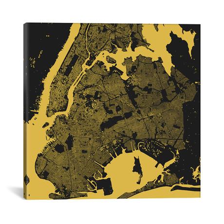 """New York City Urban Map // Yellow (18""""L x 18''W)"""