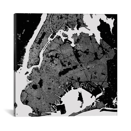 "New York City Urban Map // Black (18""W x 18""H x 0.75""D)"
