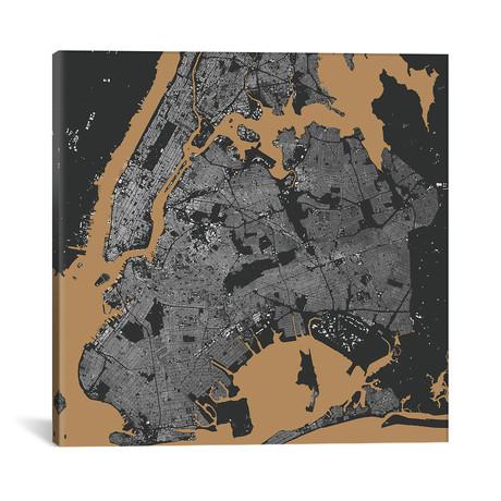 "New York City Urban Map // Black + Gold (18""L x 18''W)"