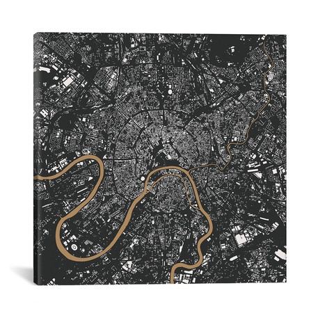 """Moscow Urban Map // Gold (18""""L x 18''W)"""
