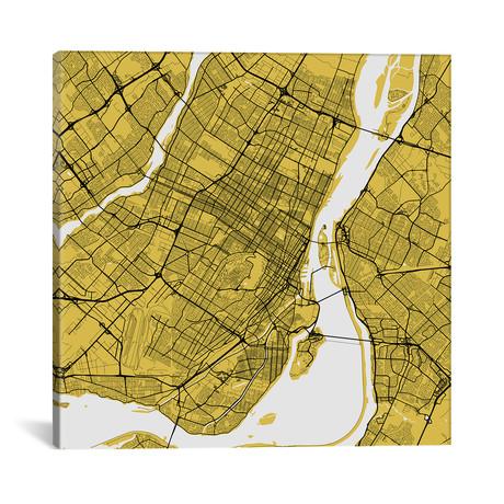 "Montreal Urban Roadway Map // Yellow (18""L x 18''W)"