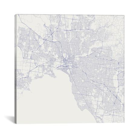 "Melbourne Urban Roadway Map // Blue (18""L x 18''W)"