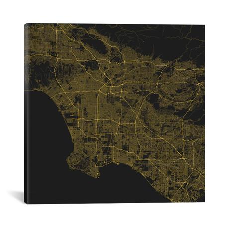 "Los Angeles Urban Roadway Map // Yellow (18""L x 18''W)"