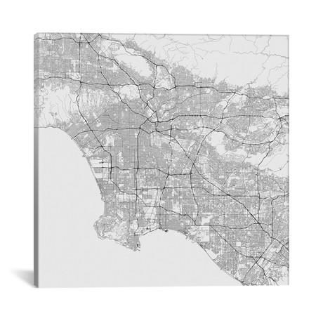 """Los Angeles Urban Roadway Map // White (18""""L x 18''W)"""