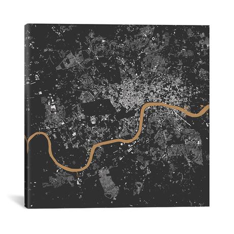"London Urban Map // Black + Gold (18""L x 18''W)"