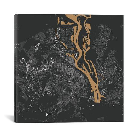 """Kiev Urban Map // Gold (18""""L x 18''W)"""