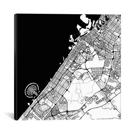 "Dubai Urban Map // Black (18""L x 18''W)"