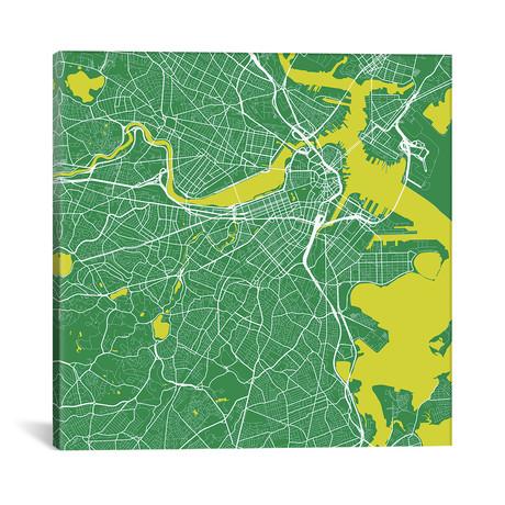 "Boston Urban Roadway Map // Green (18""L x 18''W)"