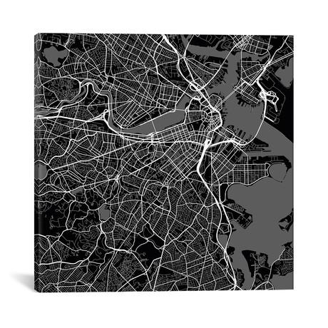 "Boston Urban Roadway Map // Black (18""L x 18''W)"