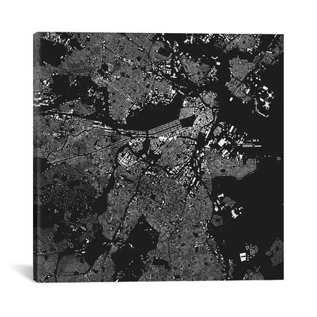 "Boston Urban Map // Black (18""W x 18""H x 0.75""D)"
