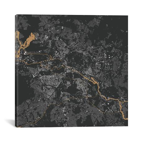 """Berlin Urban Map // Gold (18""""L x 18''W)"""