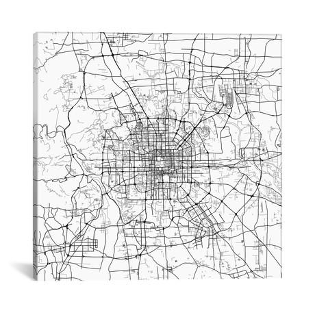 "Beijing Urban Map // White (18""L x 18''W)"