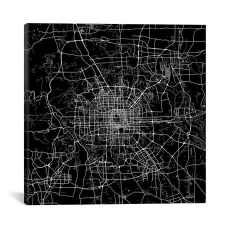 """Beijing Urban Map // Black (18""""L x 18''W)"""