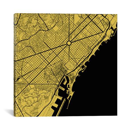 "Barcelona Urban Map // Yellow (18""L x 18''W)"