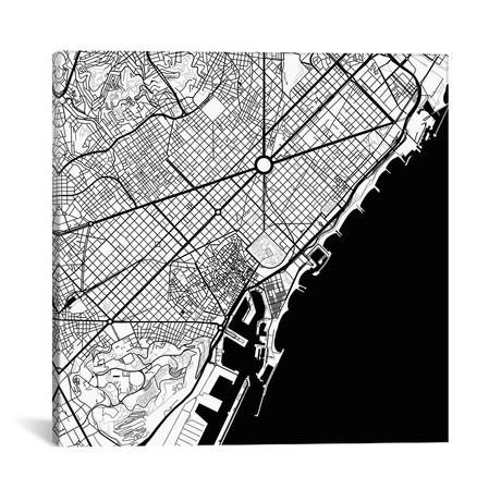 """Barcelona Urban Map // Black (18""""L x 18''W)"""
