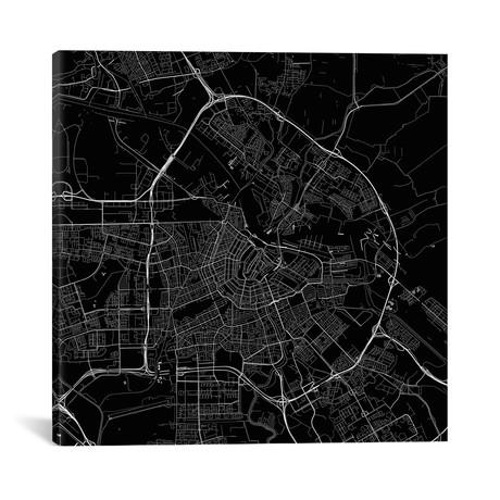 """Amsterdam Urban Roadway Map // Black (18""""L x 18''W)"""