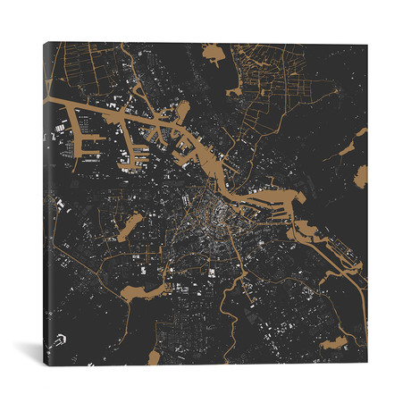 """Amsterdam Urban Map // Black + Gold (18""""L x 18''W)"""