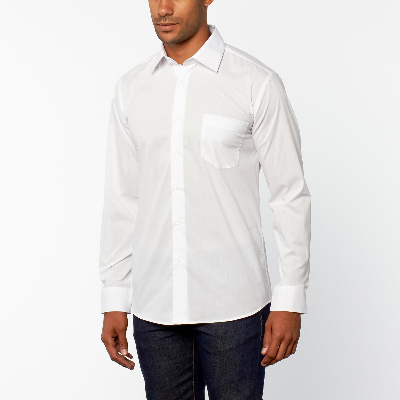 Regular fit dress shirt white us 14h 32 33 sleeve for Regular fit dress shirt