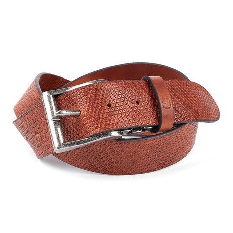"""Casual Embossed Leather Flybelt // Cognac (32"""" Waist)"""