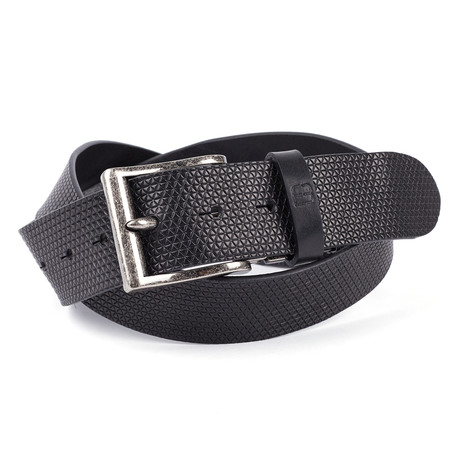 """Casual Embossed Leather Flybelt // Black (32"""" Waist)"""