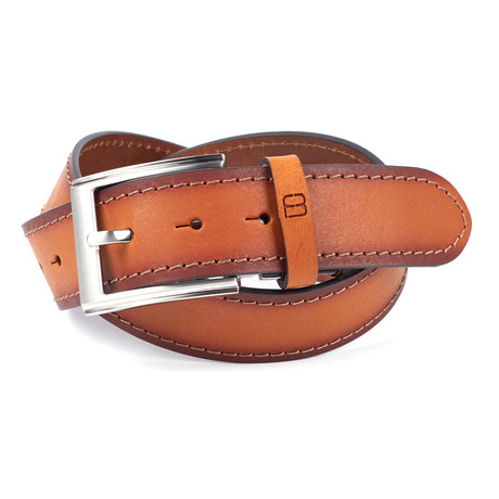 """Casual Burnished Stitched Leather Flybelt // Cognac (32"""" Waist)"""