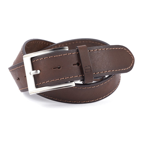 """Casual Burnished Stitched Leather Flybelt // Brown (32"""" Waist)"""