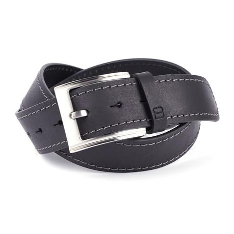 "Casual Burnished Stitched Leather Flybelt // Black (32"" Waist)"
