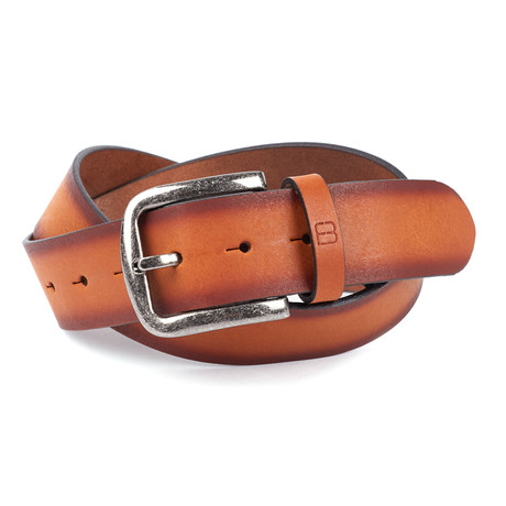 Bryant Park Belts // Casual Burnished Unstitched Leather Flybelt // Cognac