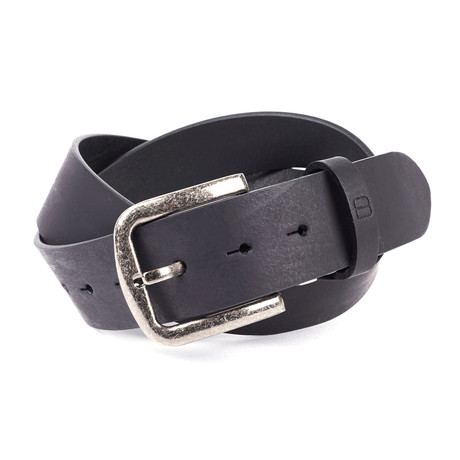 Casual Burnished Unstitched Leather Flybelt // Black