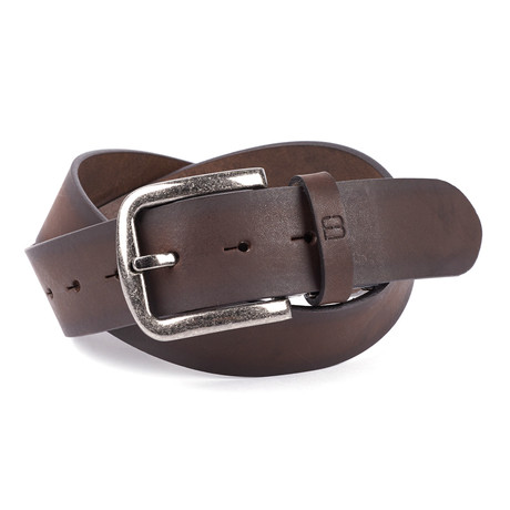 Casual Burnished Unstitched Leather Flybelt // Brown