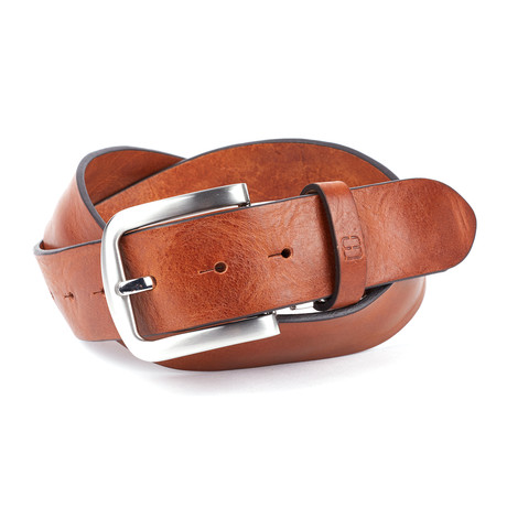 """Casual Distressed Leather Flybelt // Cognac (32"""" Waist)"""