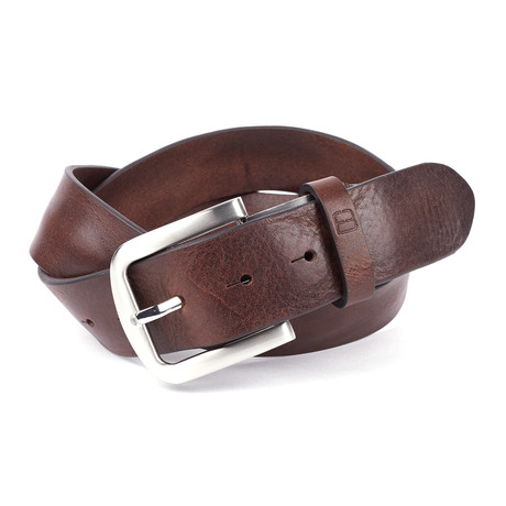 """Casual Distressed Leather Flybelt // Brown (32"""" Waist)"""