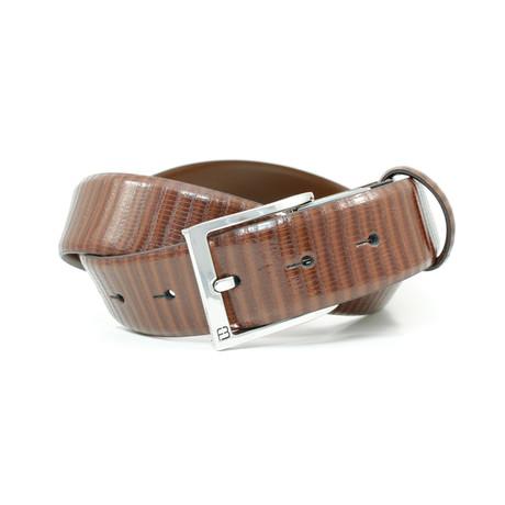 "Reptile Grain Leather Flybelt // Cognac (32"" Waist)"