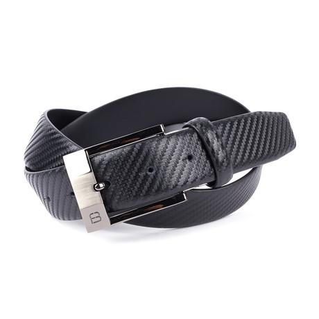 "Carbon Grain Leather Flybelt // Black (30"" Waist)"