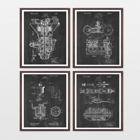 Henry Ford Patent Collection // 4 Print Set // Chalkboard