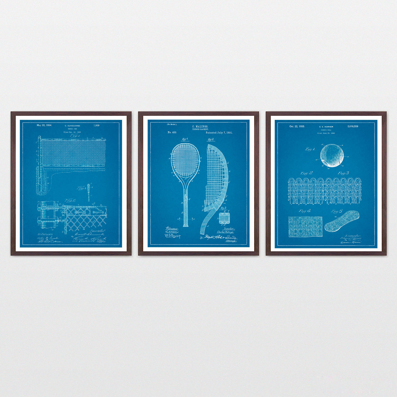 Tennis patent art collection 3 print set blueprint 8 x 10 tennis patent art collection 3 print set blueprint 8 x malvernweather Images