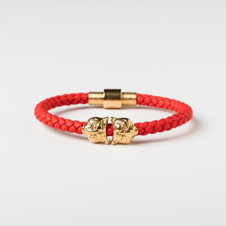 Hoofd van de tijger Lederen Armband // Red 0026 amp; Gold