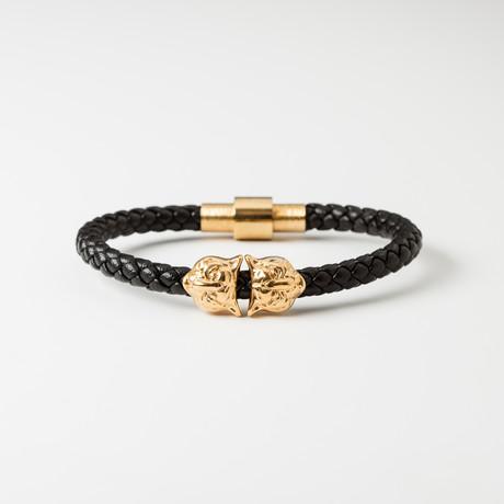 Hoofd van de tijger Lederen Armband // Black 0026 amp; Gold