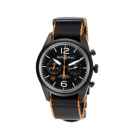 Bell 0026 amp; Ross Carbon Oranje Chronograph Automatic // BR 126