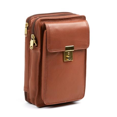 Leather Cross Body Bag // Cognac