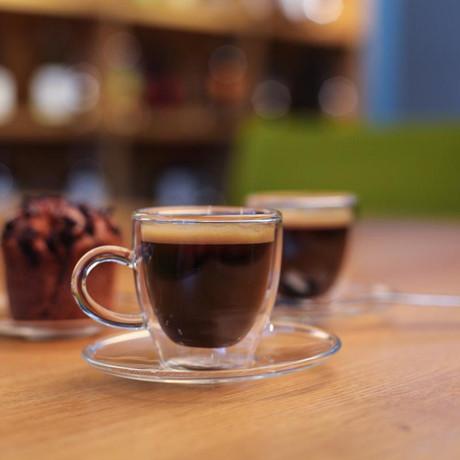 AMO // 2-Piece Espresso Cup + Saucer Double-Wall Glass // 50mL