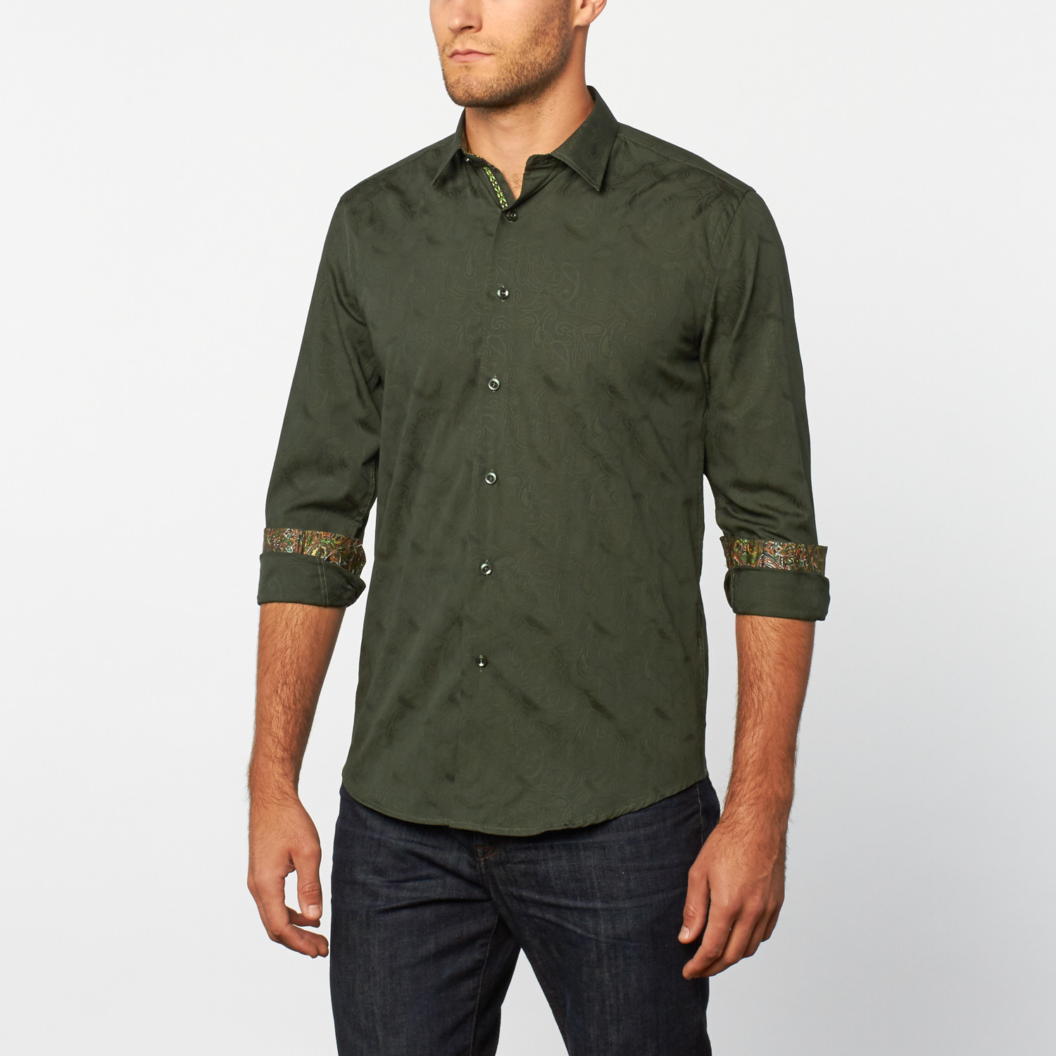 Button Up Shirt Hunter Green Print S Platini Touch Of Modern